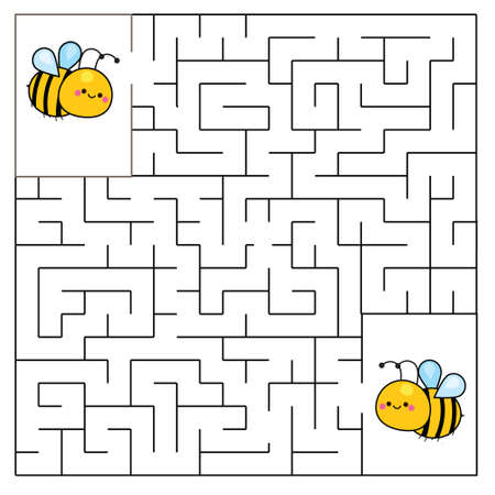 Maze puzzle. Help bees meet each other. Activity for toddlers. educational children game. Animals theme worksheet for kids