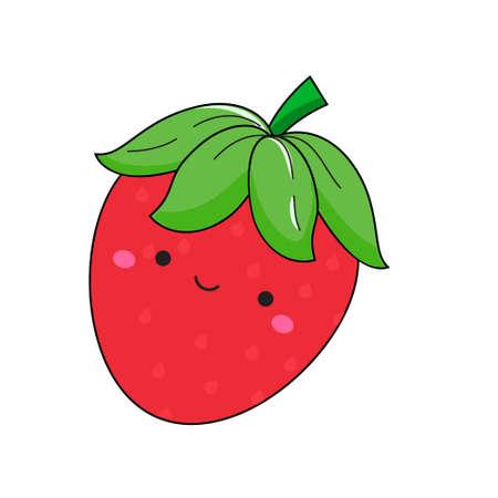 Cute kawaii straberry. Smiling adorable berry cartoon character clip art