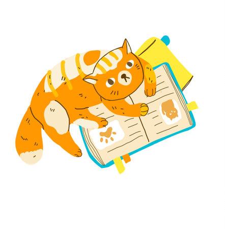Funny cartoon cat reading books. Modern flat style pet vector illustration 向量圖像