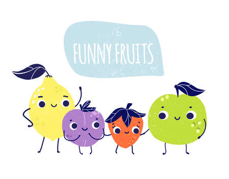 Banner with funny smiling fruits and berries cartoon characters. Apple, lemon, strawberry and plum standing together. vegan and raw food concept 向量圖像
