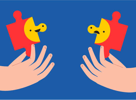 Two hand hold puzzle pieces with happy and sad emoticon. Mental health concept. Abstract vector illustration for people mood and state of mind