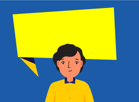 Man with big speech bubble behind. Modern adverstisement banner with character and copy text place.
