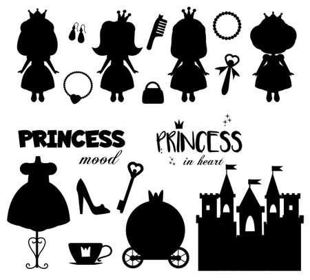 Princess theme collection of silhouettes isolated on white. Castle, dress, girls, quotes and other tale elements. Stickers, printables for kids and children theme 向量圖像
