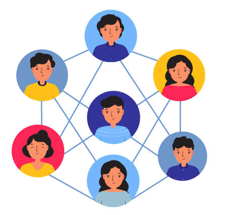 Social networking concept. Avatars of people connected with each other. Teambuilding, working business communication illustration.