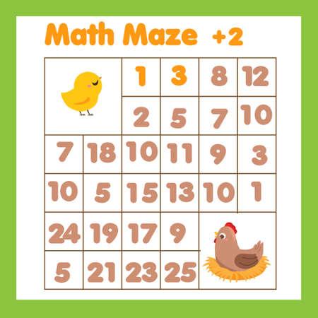 Educational children game. Mathematics maze. Labyrinth with numbers. Help chicken find moterh hen