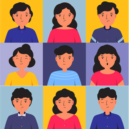 Man and woman show different emotions. Happy, sad, angry, confused paeople faces. Vector illustration for human mood and states of mind