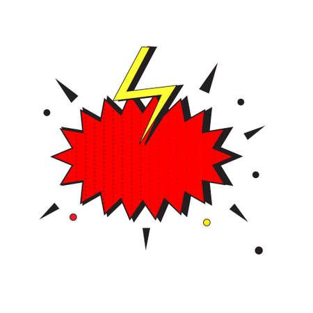 Comic speech bubble burst with thunderbolt. pop art retro style empty label 向量圖像