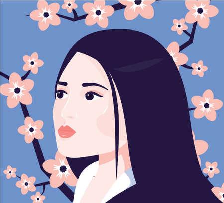 Asian Woman with sakura flowers behind. Japanese Female face. Beautiful Girl vector illustration