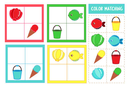 Matching children educational game. Match toys by color. Activity for kids and toddlers summer break holidays theme 向量圖像