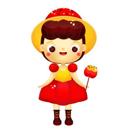 Cartoon girl in beautiful dress with red caramel apple. Cute princess. Vector clip art