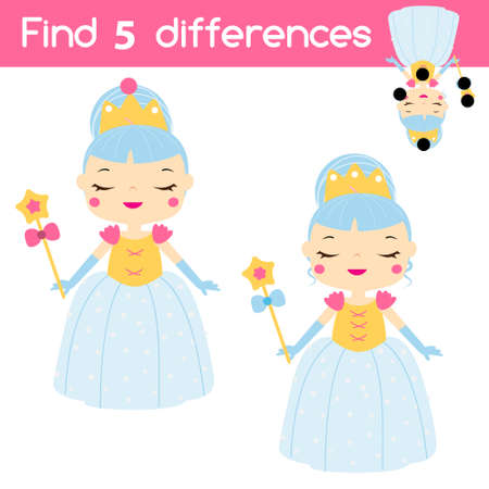 Find the differences educational children game with answer. Kids activity with sweet princess girl