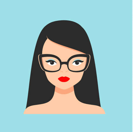 Fashion woman in fancy eyeglasses. glamourous girl with red lipstick. Fashionable female portrait for prints, cards, poster.