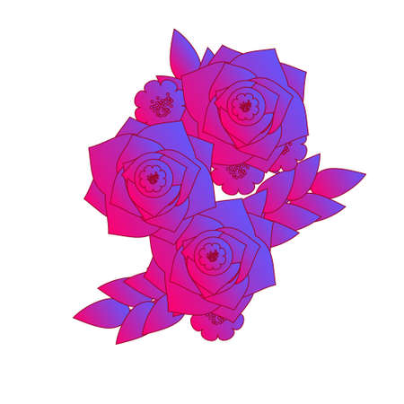 Magic gradient roses. Girls tattoo, sticker. Vector illustration in deep vibrant pink and violet colors. 向量圖像
