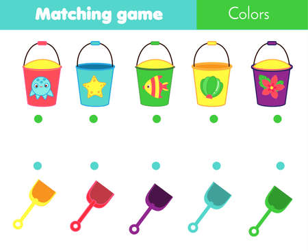 Matching children educational game. Match bucket with shovel by color. Activity for kids and toddlers summer break holidays theme