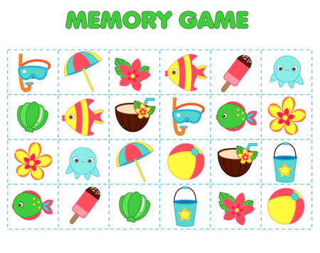 Beach Memory game for toddlers. Educational children game. Summer holidays theme. Find pairs of same picture