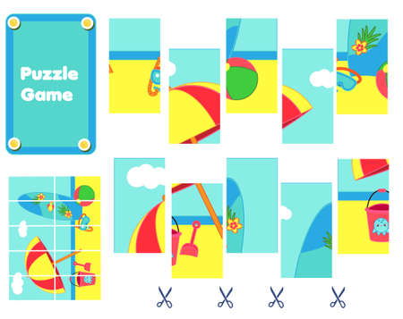 Summer beach scene Puzzle for toddlers. Match pieces and complete the picture. Educational children game, kids activity page