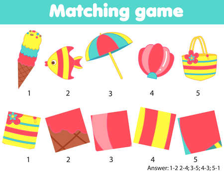 Matching children educational game. Match objects by pattern. Activity for kids and toddlers summer holidays theme 向量圖像