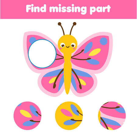 Butterfly puzzle for toddlers. Find missing part of picture. Educational children game, kids activity 向量圖像