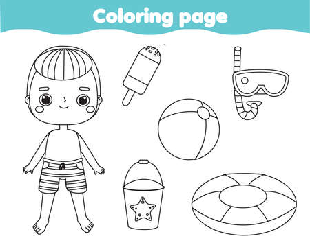 Coloring page with cartoon boy and beach objects. Drawing kids activity. Printable fun for toddlers and children. Summer holidays theme 向量圖像