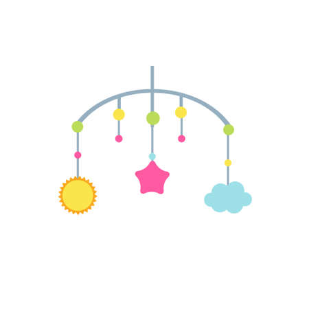 Child mobile toys wit cloud, sun and star. vector clip art 向量圖像