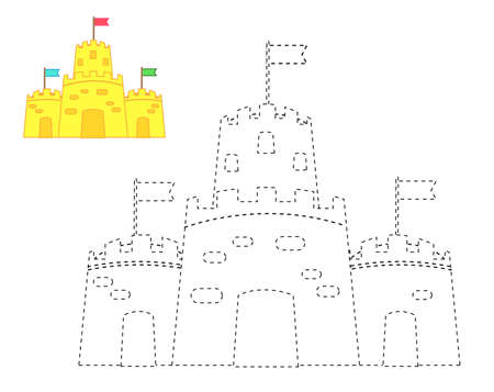 Sand castle. complete picture. educational children game. Tracing lines activity for toddlers. summer holidays theme 向量圖像