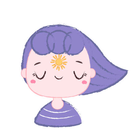Cartoon girl with violet hair and sun between eyes. Cute happy positive character sticker