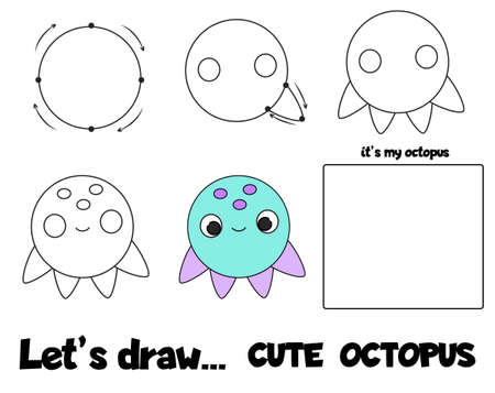 Drawing tutorial for children. Printable creative activity for kids. How to draw step by step octopus 向量圖像