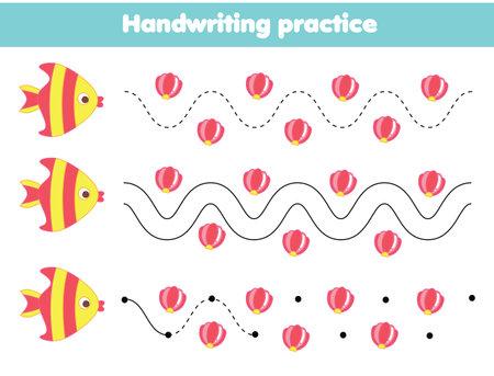 Handwriting practice sheet with cartoon rabbit. Educational children game. Tracing lines. Basic writing worksheet for kids 向量圖像