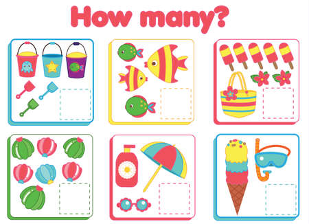 Counting educational children game. Study math, numbers, addition for preschool. Summertime theme kids mathematics activity 向量圖像