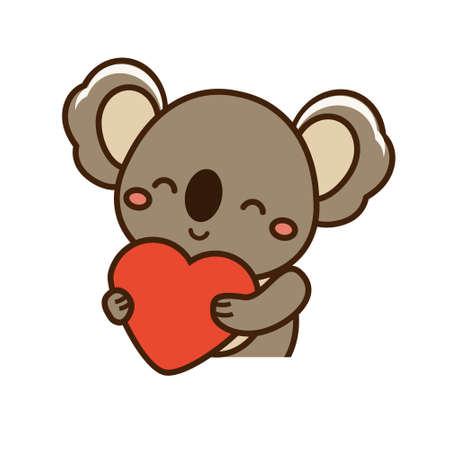 Cute happy koala hold heart. Cartoon kawaii animal character. Vector illustration clip art. Love concept