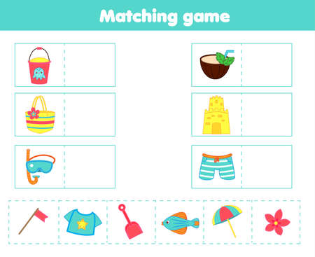 Matching children educational game. Match beach objects with each other. Activity for kids and toddlers summer break holidays theme