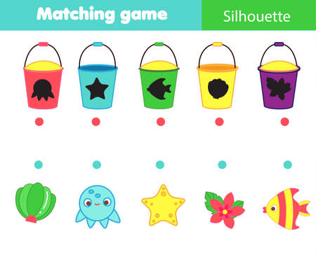 Shadow matching game. Summertime beach theme Kids activity. Find silhouettes of objects. 向量圖像