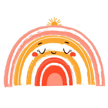 Cute rainbow. vector illustration for kids. Print for baby clothes with adorable happy character. Nursery design