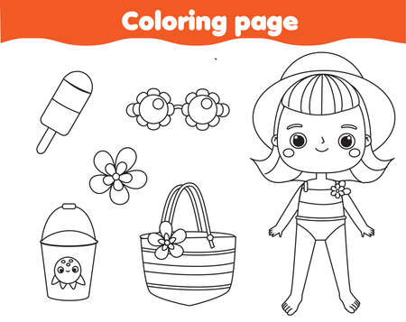Coloring page with summer cartoon boy and beach objects. Drawing kids activity. Printable fun for toddlers and children. Summer holidays theme
