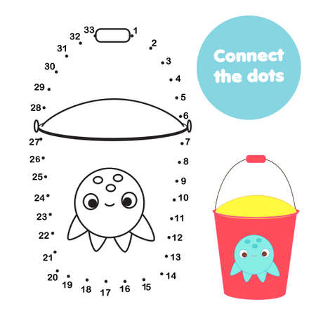 Connect the dots. Dot to dot by numbers activity for kids and toddlers. Children educational game. Beach bucket with cute ocotpus 向量圖像