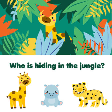 Educational game for children, kids activity. Matching game with animals