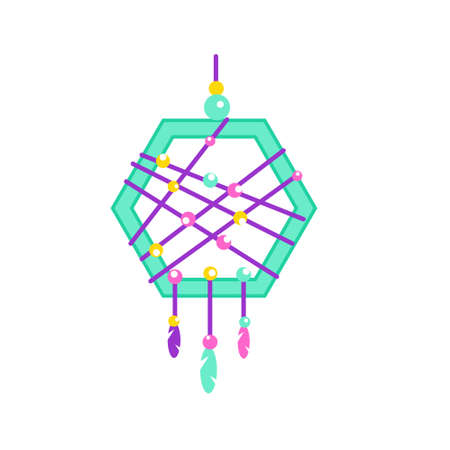 Dreamcatcher with feathers. Native indian dream catcher, traditional symbol