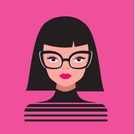 Fashion woman in fancy eyeglasses. glamourous girl with pink lips. Fashionable female portrait for prints, cards