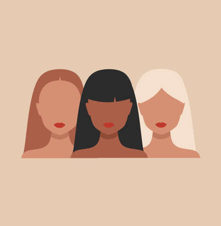 Vector banner with Three Woman portraits in minimal style. Female faces of different ethnicity and hair color