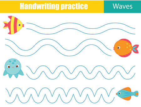 Handwriting practice sheet with funny rabbit. Educational children game. Tracing lines. early education worksheet for kids 向量圖像