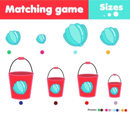 Matching children educational game. Match by size. Activity for kids and toddlers summer holidays theme
