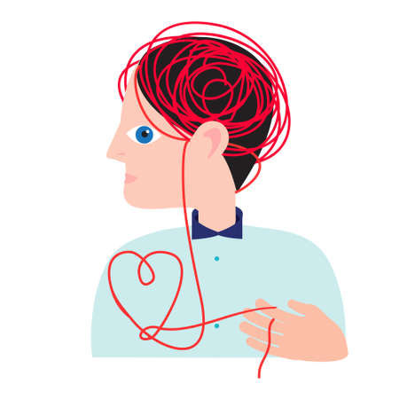 Person with tungled thread leading from head to heart. Mental health concept. Abstract vector illustration for people mood and states of mind