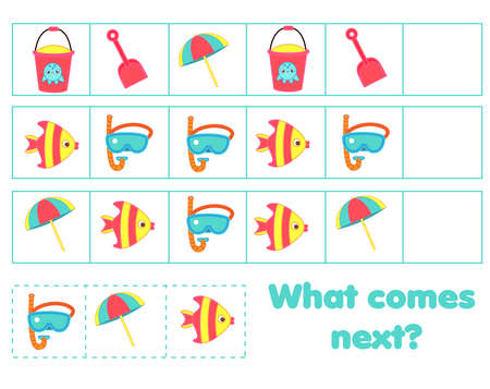 What comes next educational children game. Kids activity sheet, continue the row task. Summer holidays theme 向量圖像