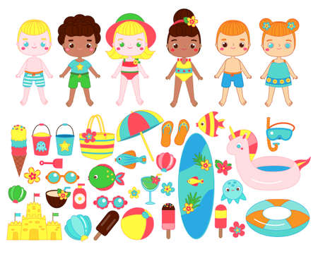 Big set of cartoon summer girls and boys and beach fun accessories. Ice cream, diving mask, cocktail, bucket and other summertime break objects. Clip art collection for stickers book and paper dolls