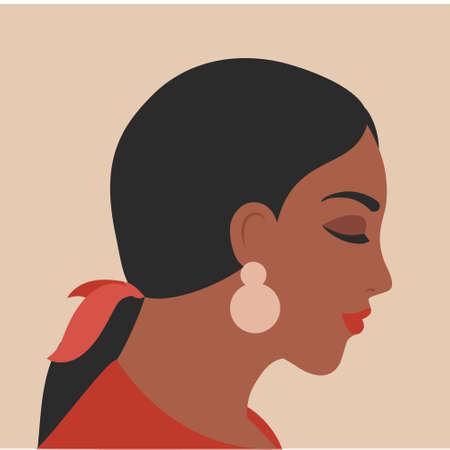 Woman portrait in minimal style. Female face profile. Brunette girl vector illustration 向量圖像