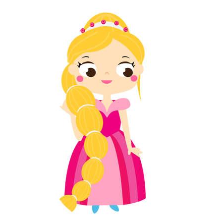 Cartoon girl in beautiful pink dress. Cute princess. Vector clip art