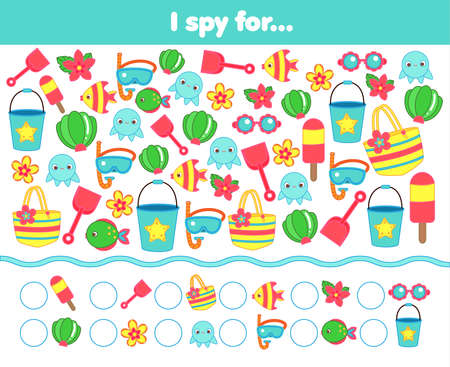 I spy game. Count summertime beach objects. Summer holidays activity for kids, toddlers, children 向量圖像