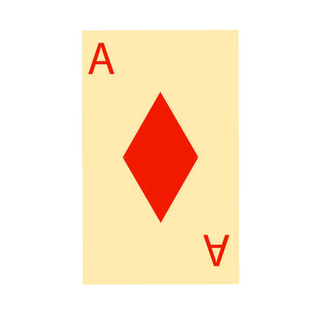 Simple playing card icon with ace of diamonds. Vector clip art