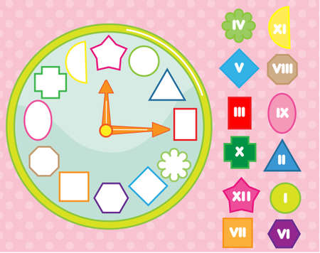 Matching children educational game. Clock puzzle shape sorting for kids and toddlers. Learn roman numbers, time and geometric forms