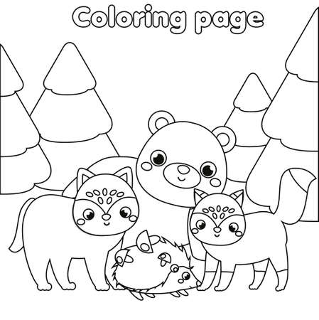 Coloring page with forest animals. Drawing kids activity. Printable fun for toddlers and children